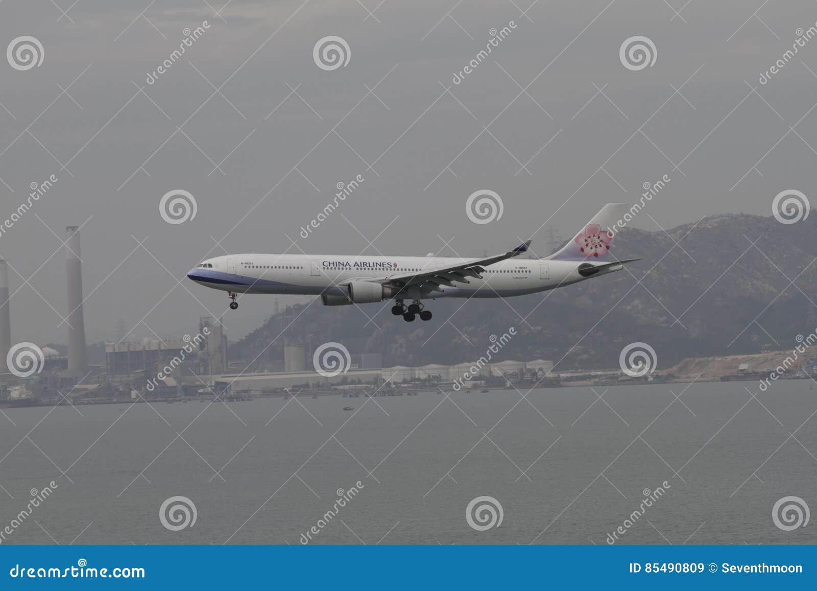 Voo da linha aérea A350 de China que aterra Hong Kong