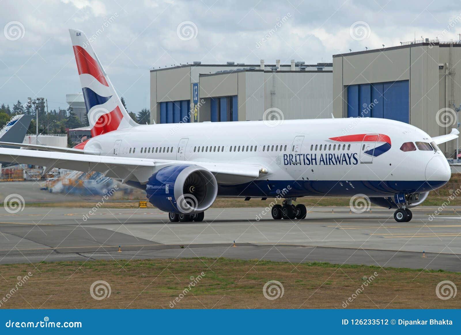 Voo de ensaio brandnew do dreamliner B787-8 de British Airways
