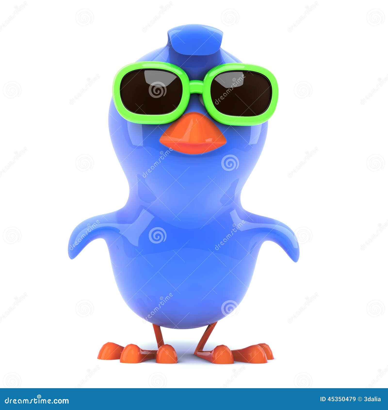 3d rendem de um azulão-americano que veste óculos de sol verdes e que voa  felizmente avante d02dda1225