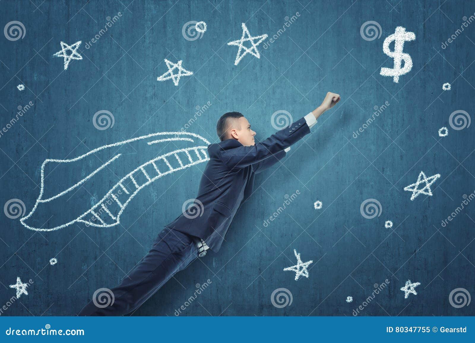 Voo do homem de negócios como o super-herói para obter o dinheiro