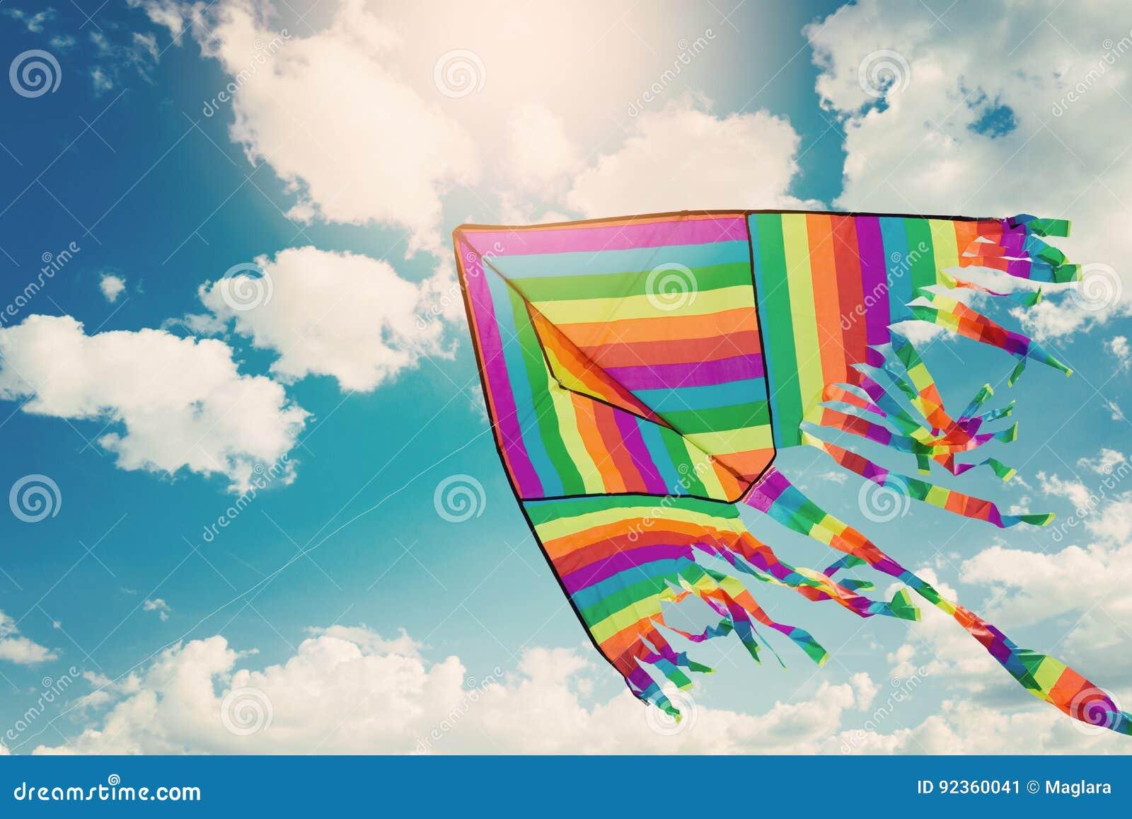 Voo do papagaio do arco-íris no céu azul com nuvens Liberdade e férias de verão