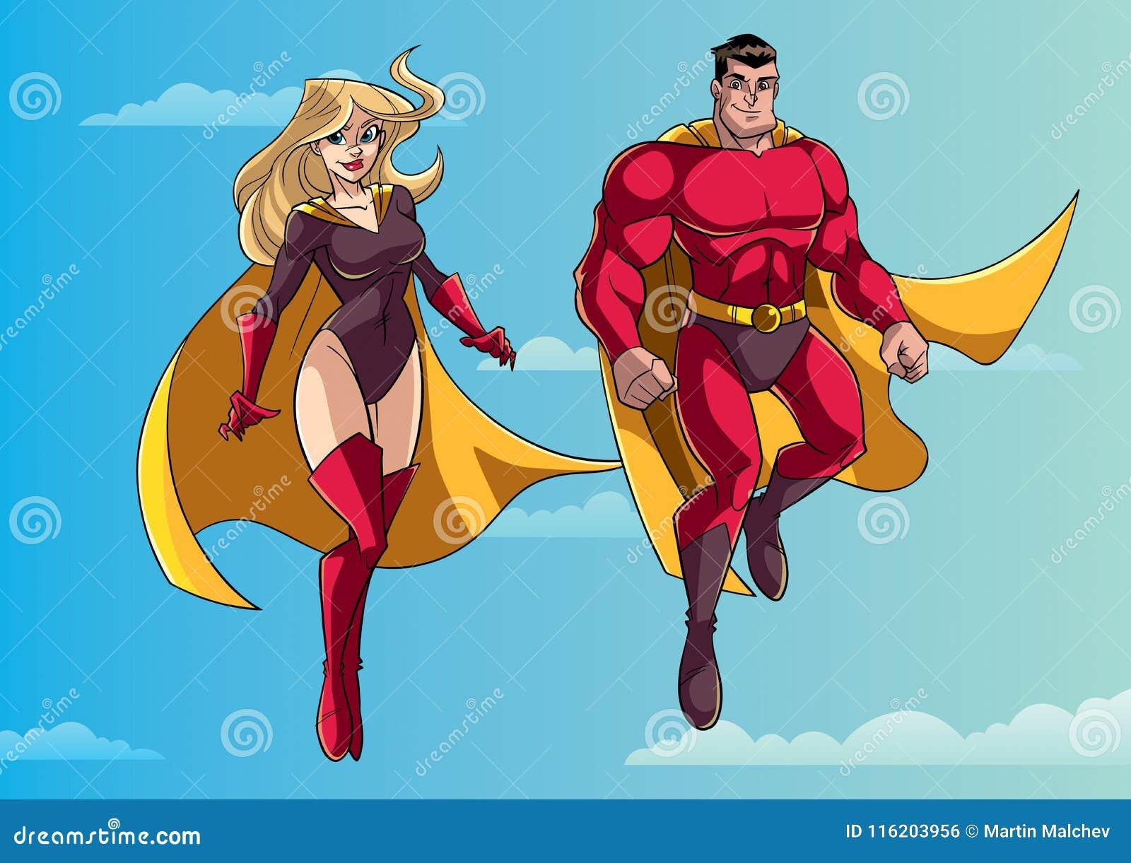 Voo dos pares do super-herói no céu