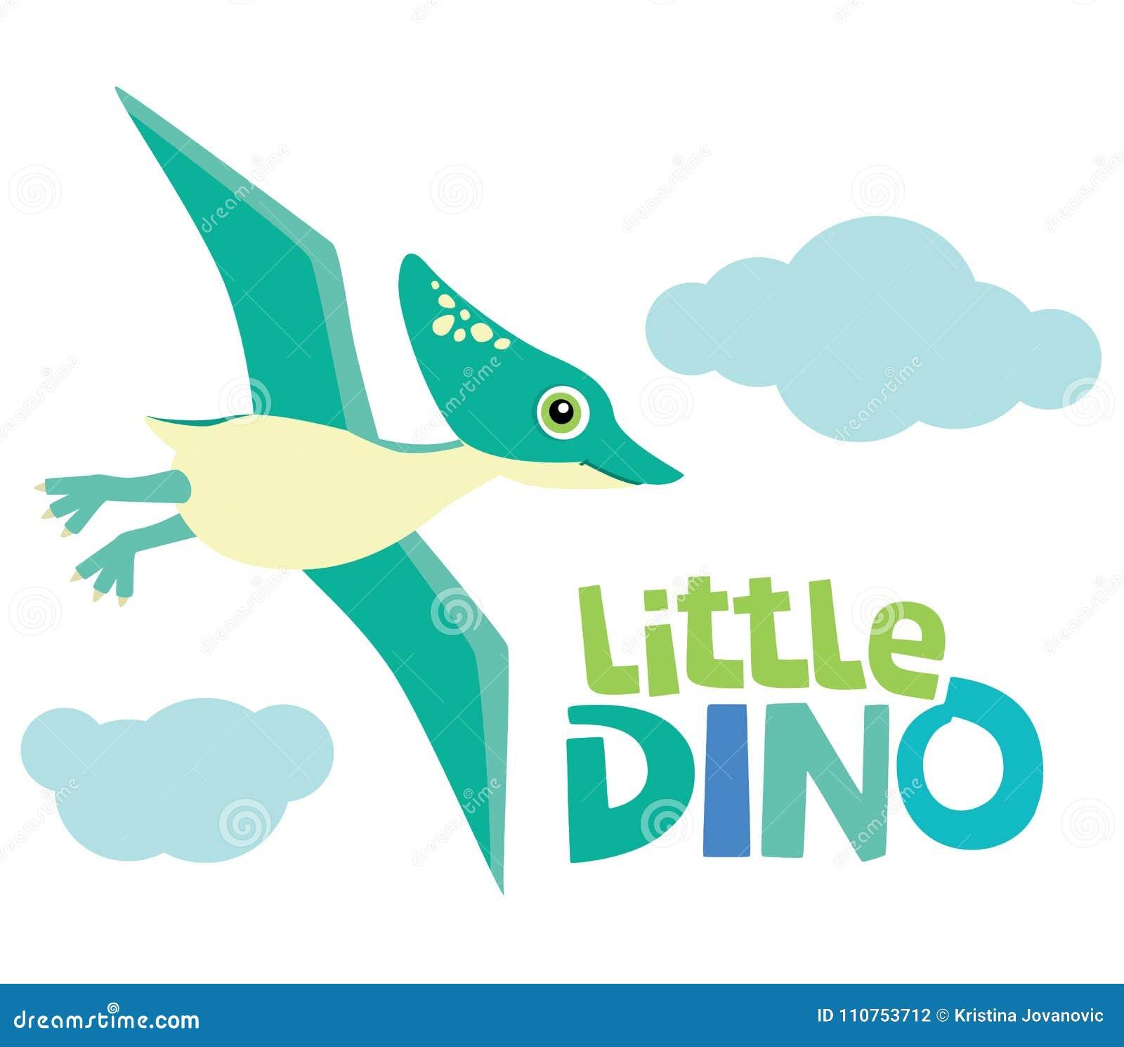 Voo pequeno bonito do dinossauro do pterodátilo do bebê com a ilustração pequena do vetor de Dino Lettering e das nuvens isolada