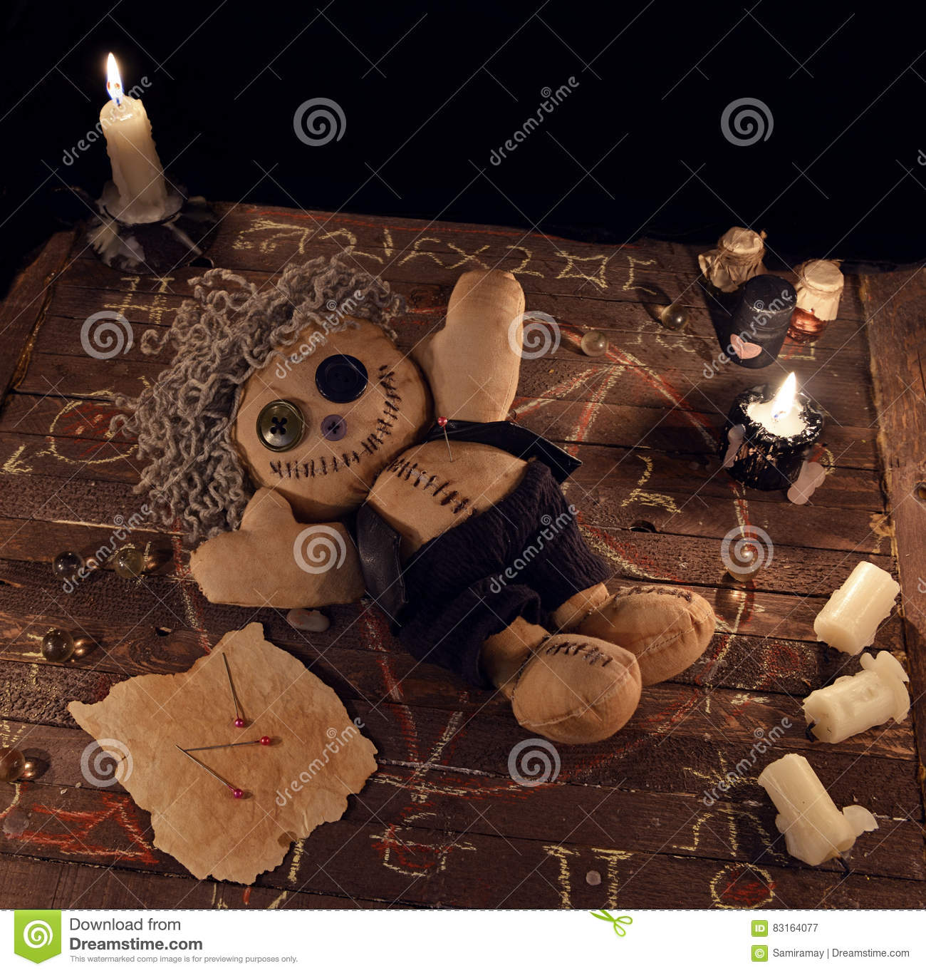 Voodoo Doll In Pentagram Circle On Wooden Planks Stock Image - Image