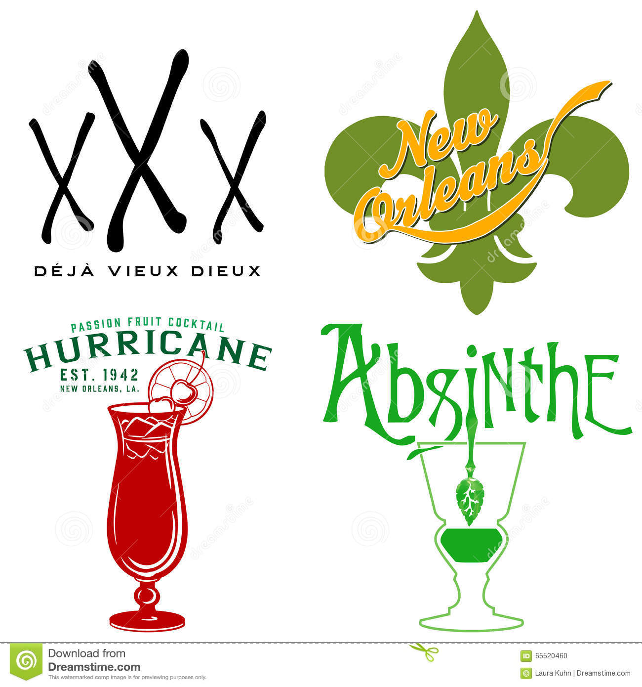 Hurricane fleur de lis symbols stock vector illustration of new orleans icon collection voodoo fleur de lis absinthe hurricane stock photo buycottarizona Images