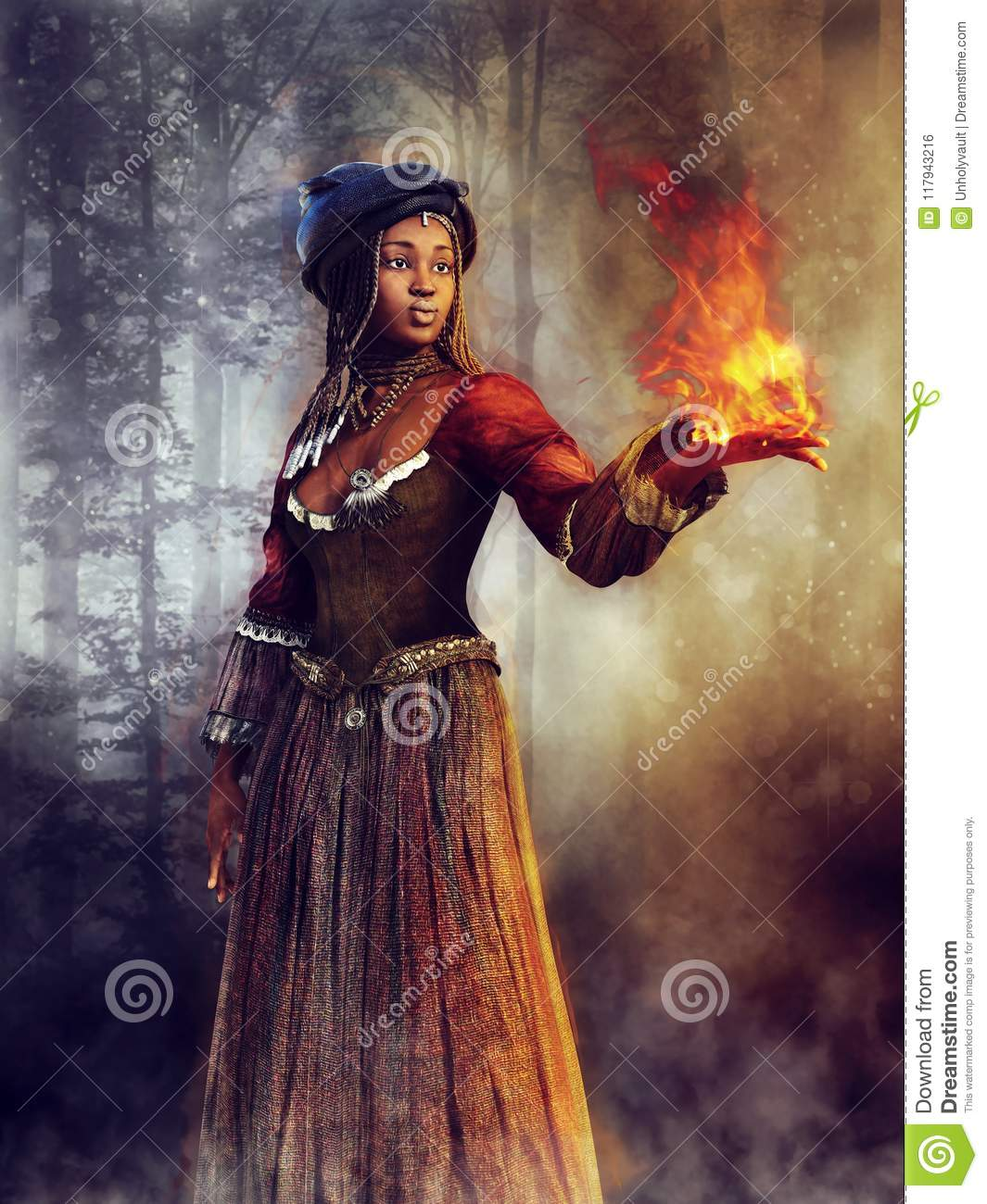 Voodoo sorceress with a flame