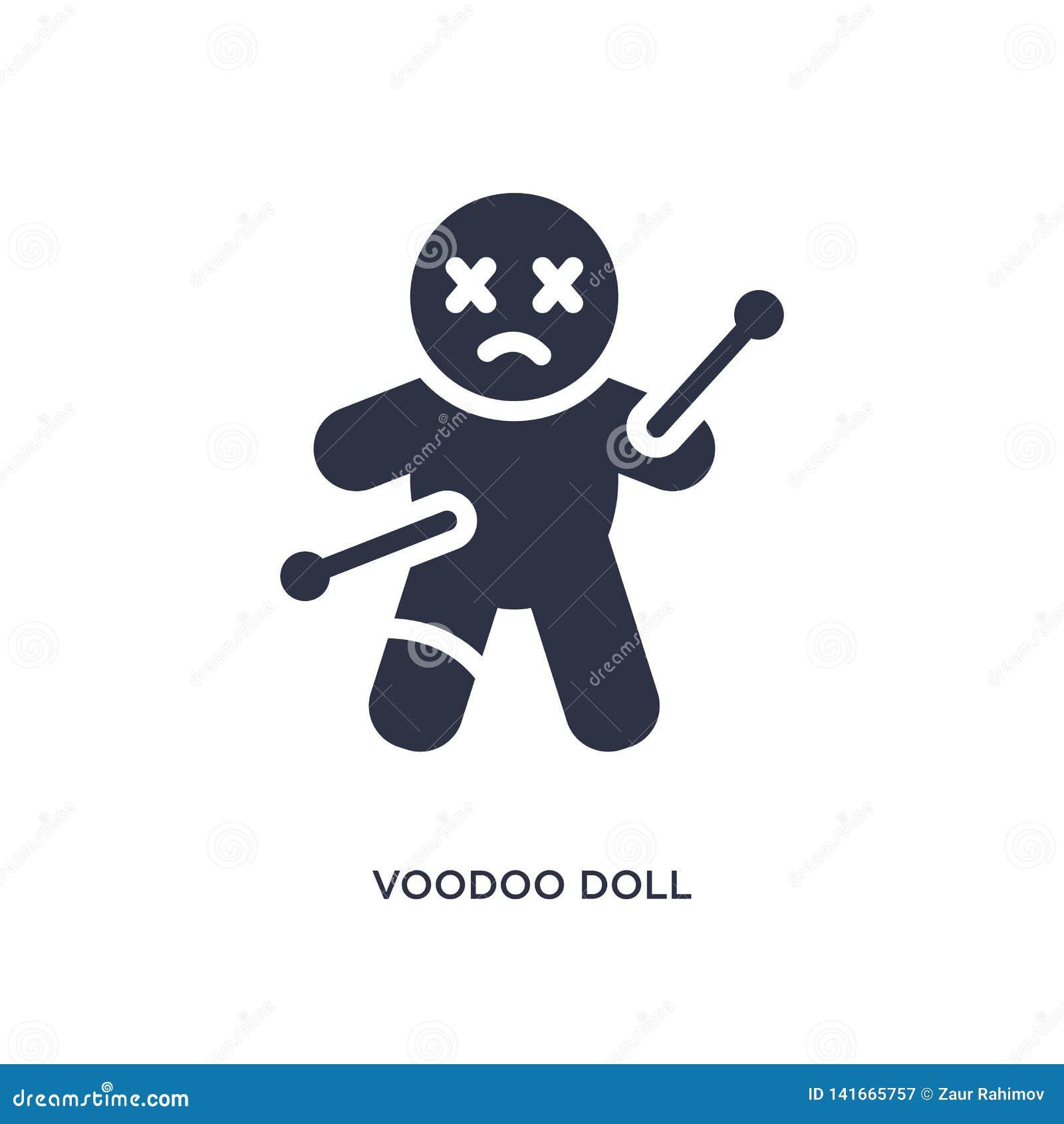 Voodoodockasymbol på vit bakgrund Enkel beståndsdelillustration från magiskt begrepp