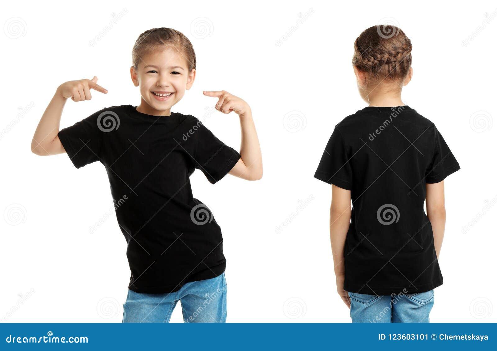 Voor en achtermeningen van meisje in zwarte t-shirt