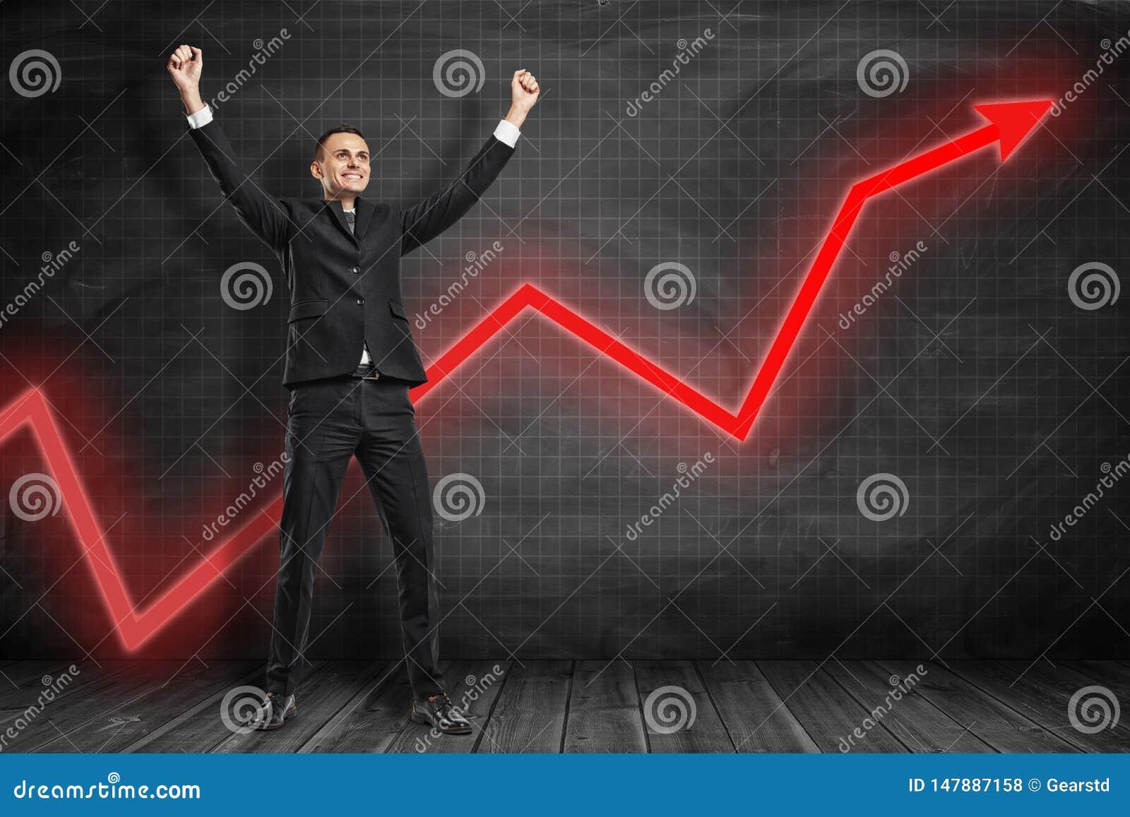 Voor volledige lengtemening die van gelukkige zakenman wapens in zegevierend gebaar met het rode grafiekpijl uitgaan opheffen ach