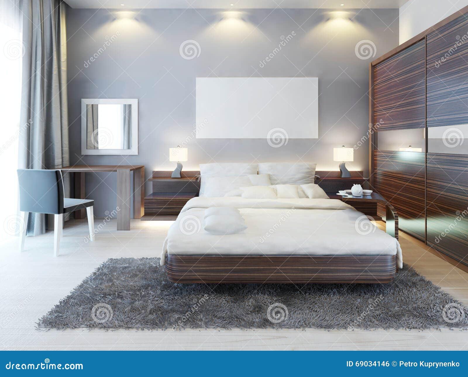 Vooraanzicht van de slaapkamer in een moderne stijl stock