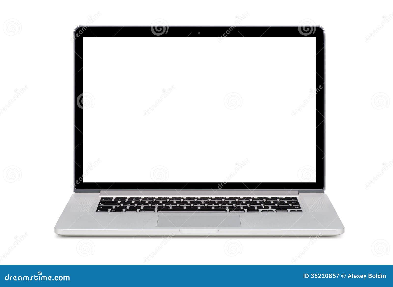 Vooraanzicht van moderne laptop met het wit scherm en engelsen stock afbeelding afbeelding - Wit scherm ...