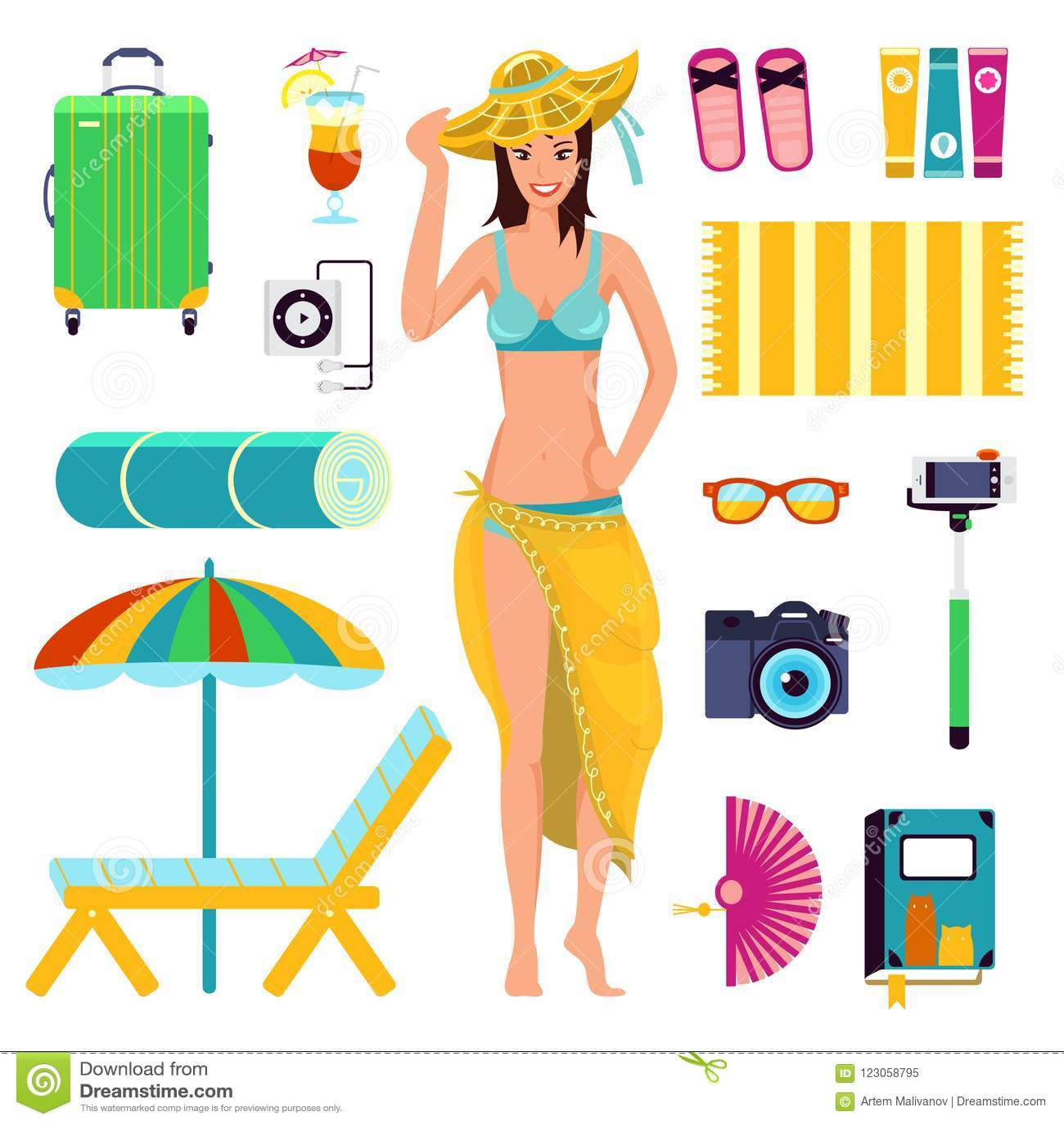 Voorbereidingen treffend voor de vakantie van het de zomerstrand, aan vakantie Een meisje in badpak