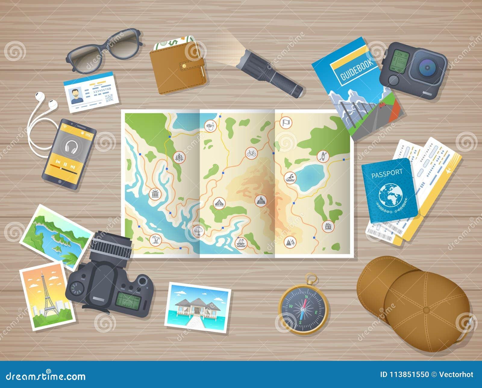Voorbereidingen treffend voor wandelingsreis, vakantie, reis Planning, de lijst Houten lijst van de verpakkingscontrole met toeri