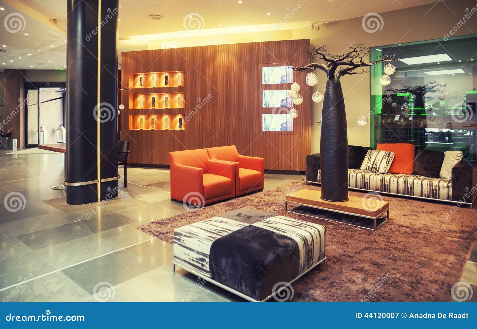 Voorgerechtzaal in modern hotel stock afbeelding afbeelding