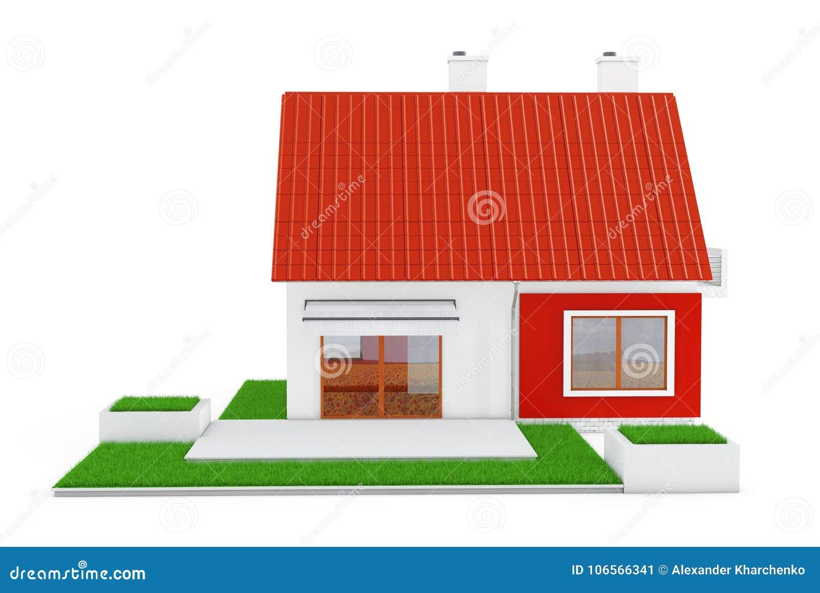 Voorgevel van Modern Plattelandshuisjehuis met Red Roof en Groen Gras 3d