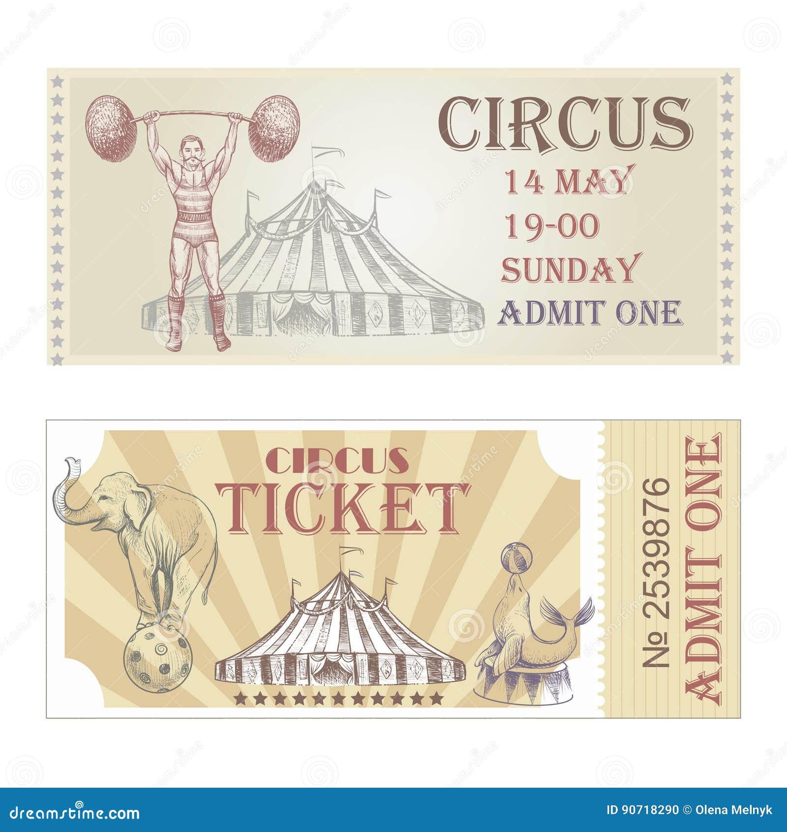 Voorkant van circus de vector horizontale kaartjes