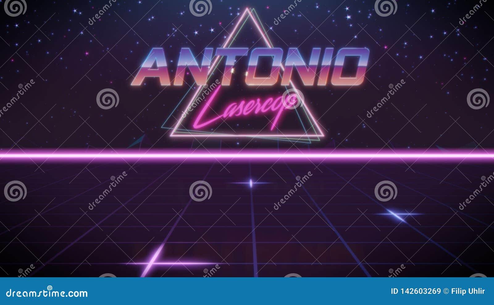 Voornaam Antonio in synthwavestijl