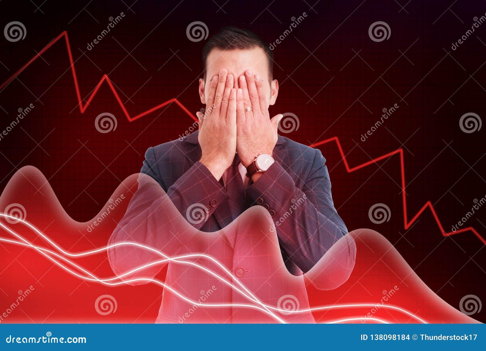 Voorraadmakelaar die ogen behandelen zoals blind aan financieel dalingsconcept