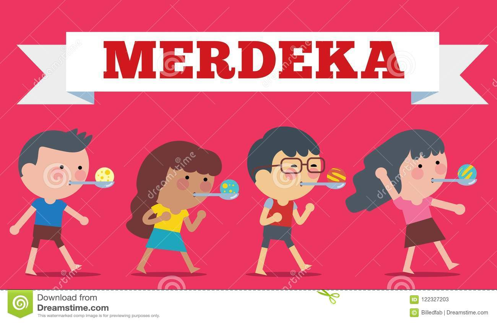 Voorraadvector van Illustratie op Hari Merdeka, Onafhankelijkheidsdag van Indonesië Vlakke illustratiestijl