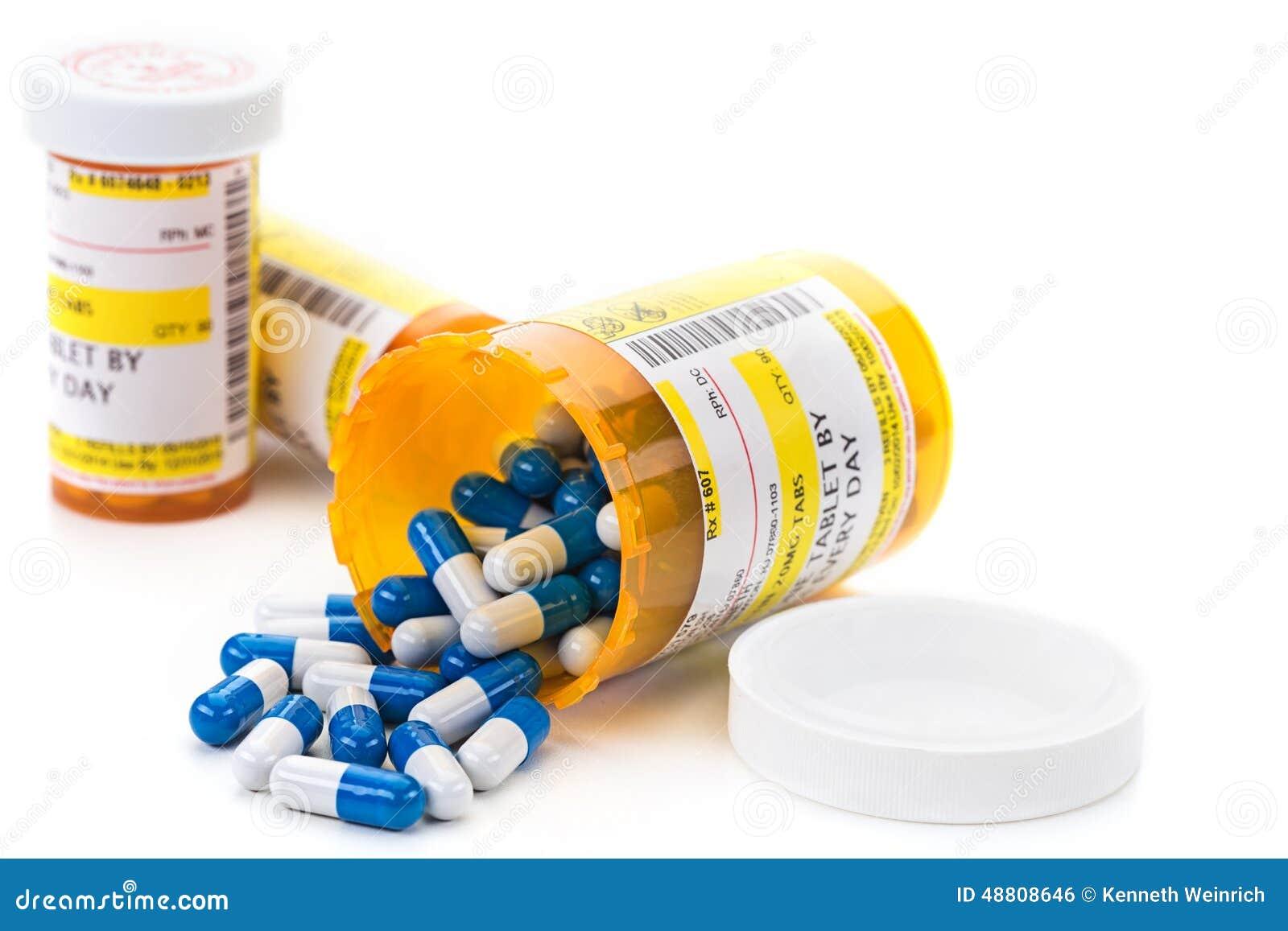 Voorschriftmedicijn in de flesjes van de apotheekpil