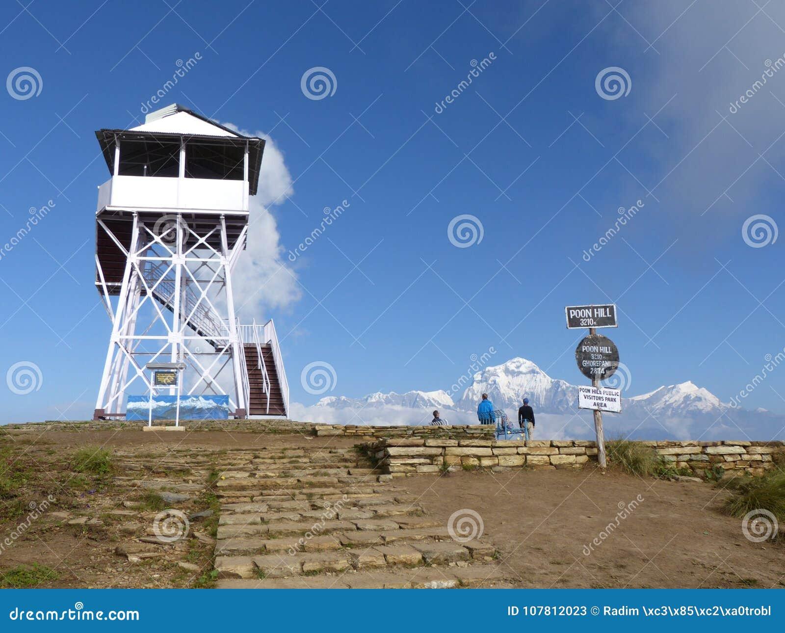 Vooruitzichttoren en Dhaulagiri-waaier van Poon Hill, Nepal