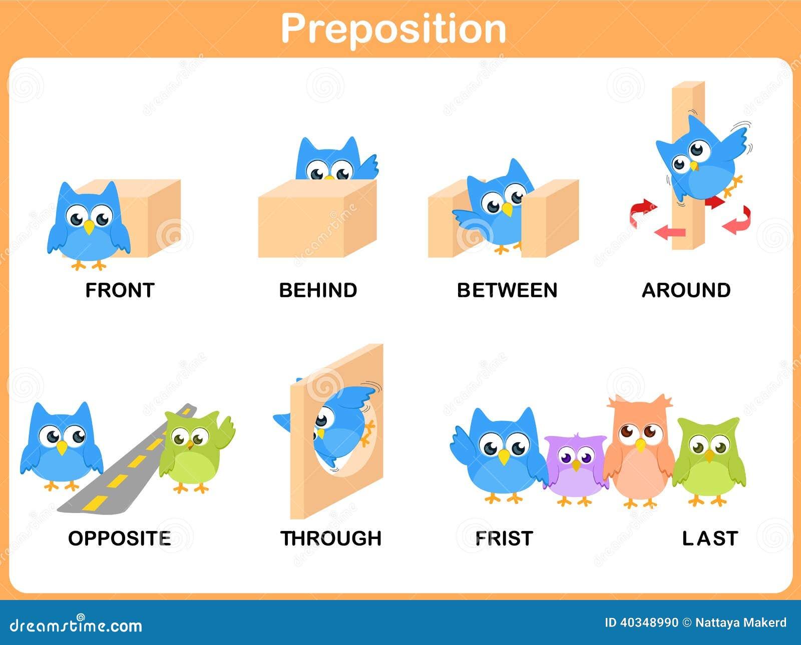Voorzetsel van motie voor kleuterschool vector illustratie for Bureau antonym