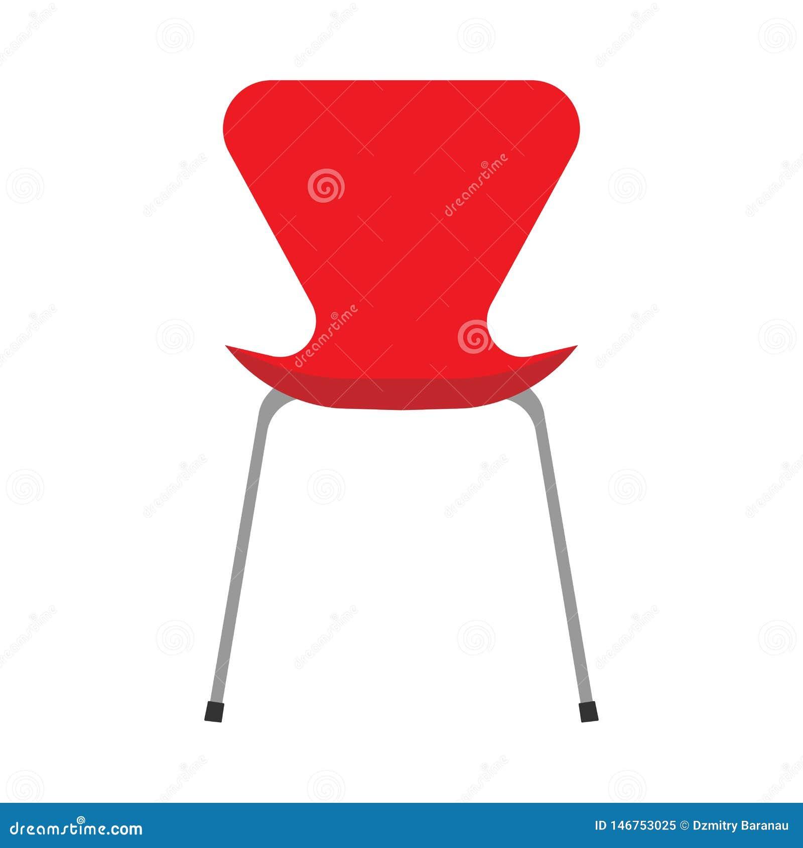 Vorderansicht der roten Ikone des Bürostuhlvektors flachen Innenm?belausr?stung des bequemen Entspannungszeichens niemand
