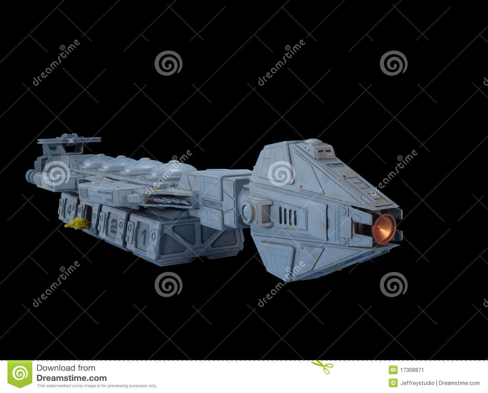 Vorderansicht des Ladungraumschiffes