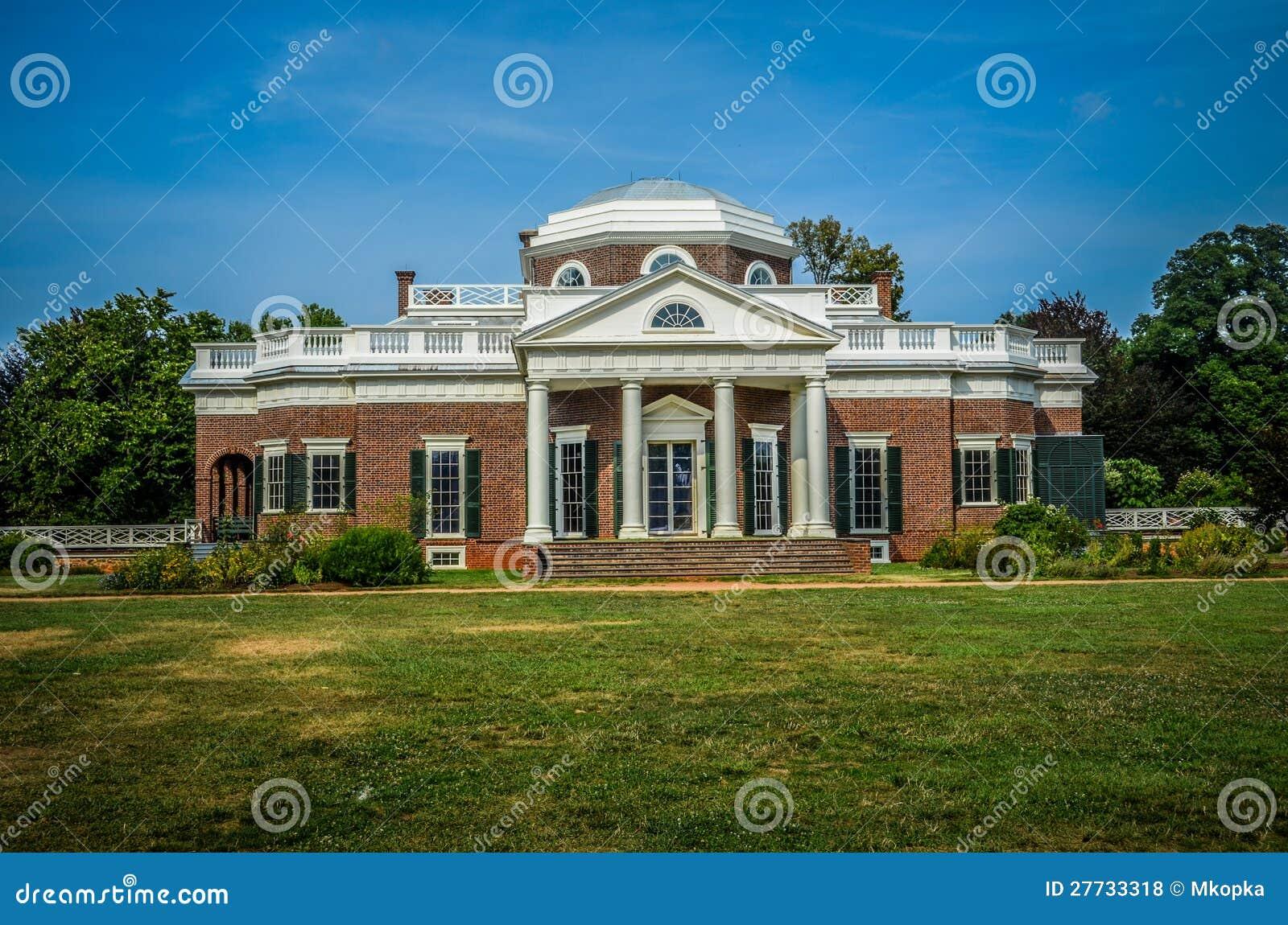 Vorderansicht Thomas Jefferson Monticello des Hauses