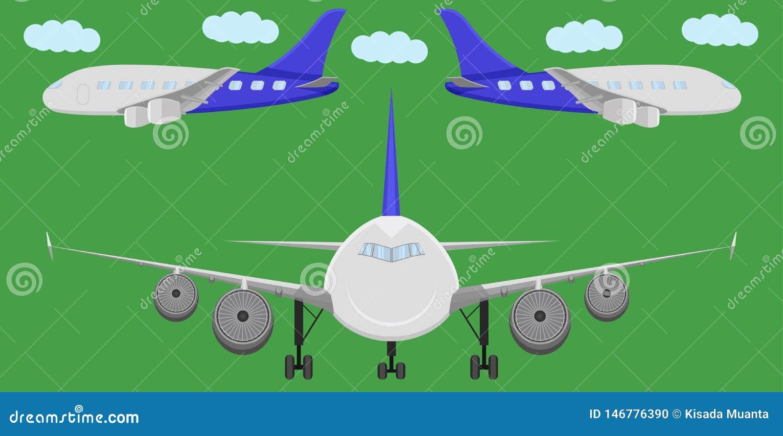 Vorderansichtluftfahrtwolken-Vektorillustration der Flugzeugtransporthimmelfliegenflugflügeljet-Seite