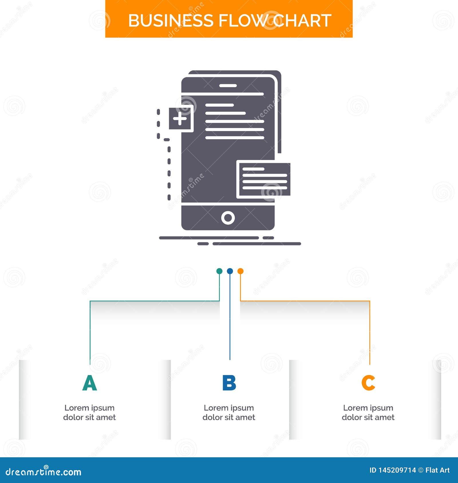 Vorderseiten, Schnittstelle, Mobile, Telefon, Entwickler Geschäfts-Flussdiagramm-Entwurf mit 3 Schritten Glyph-Ikone f?r Darstell