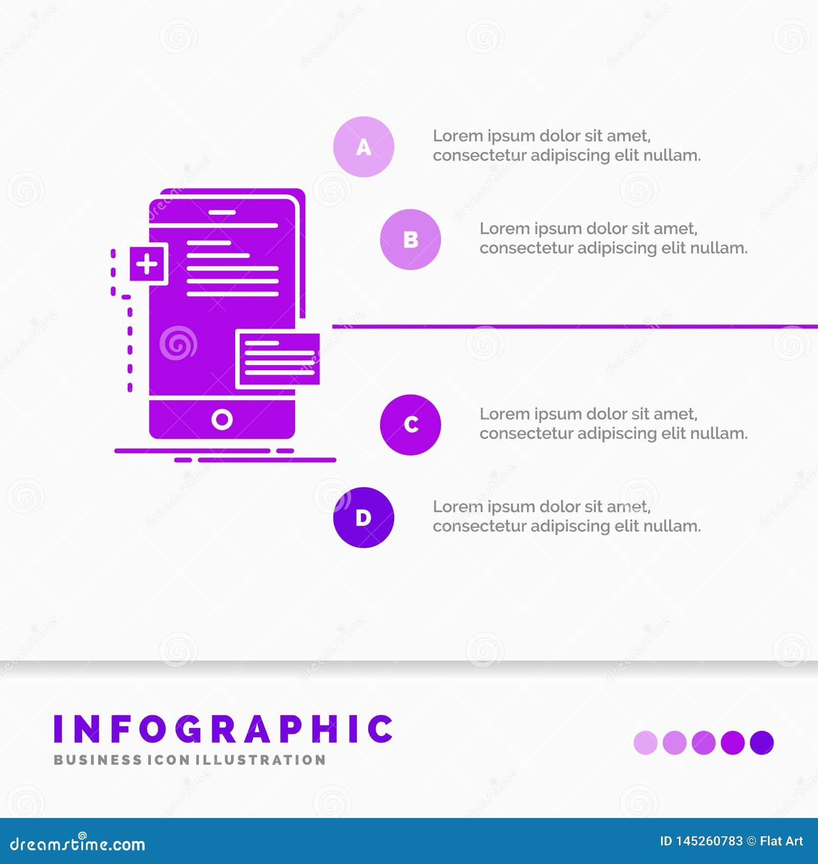 Vorderseiten-, Schnittstelle, Mobile, Telefon, Entwickler Infographics-Schablone für Website und Darstellung Purpurrote Ikone des