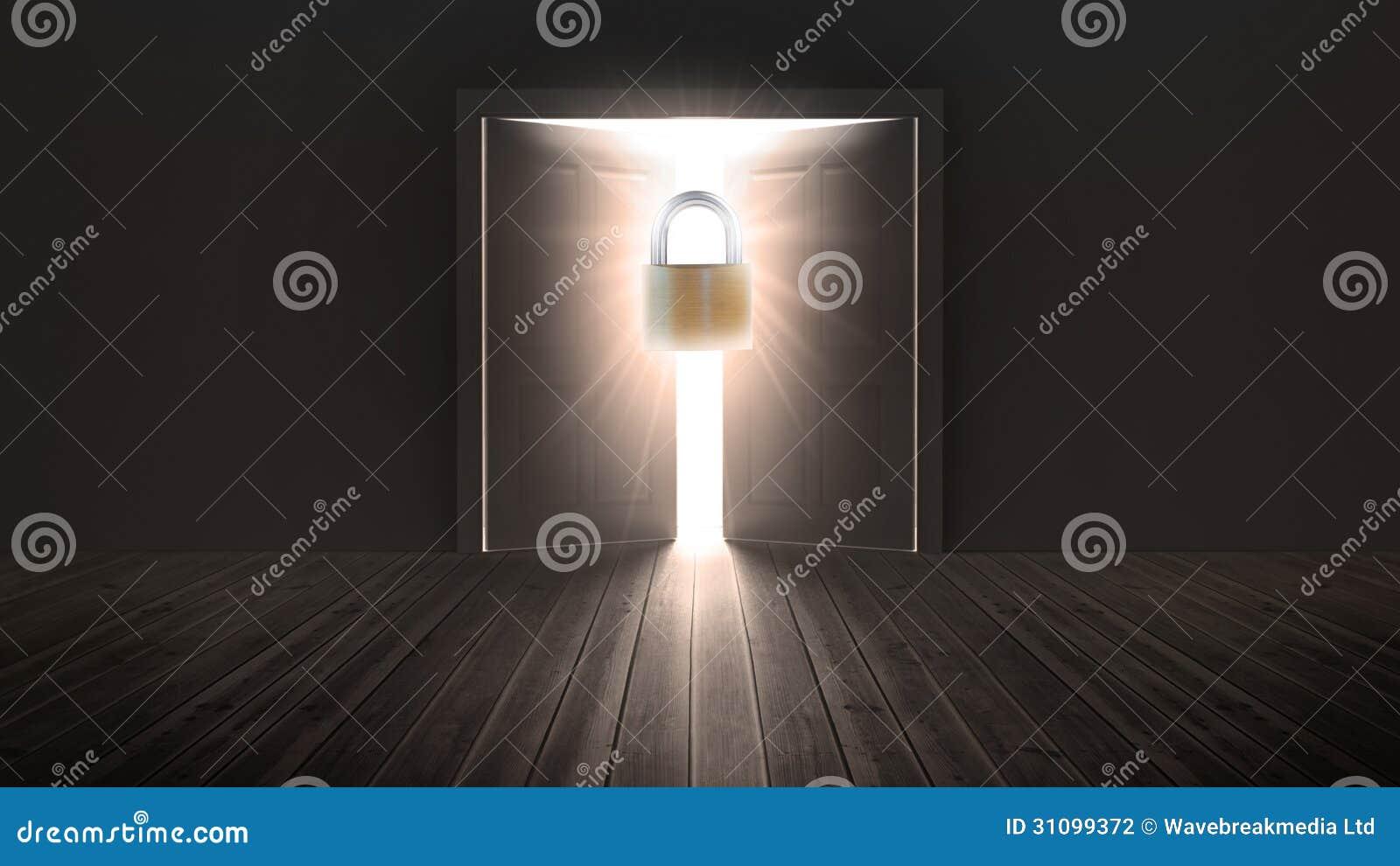 Das tür  Vorhängeschloß, Das Tür Zum Hellen Licht Schützt Stockfotografie ...