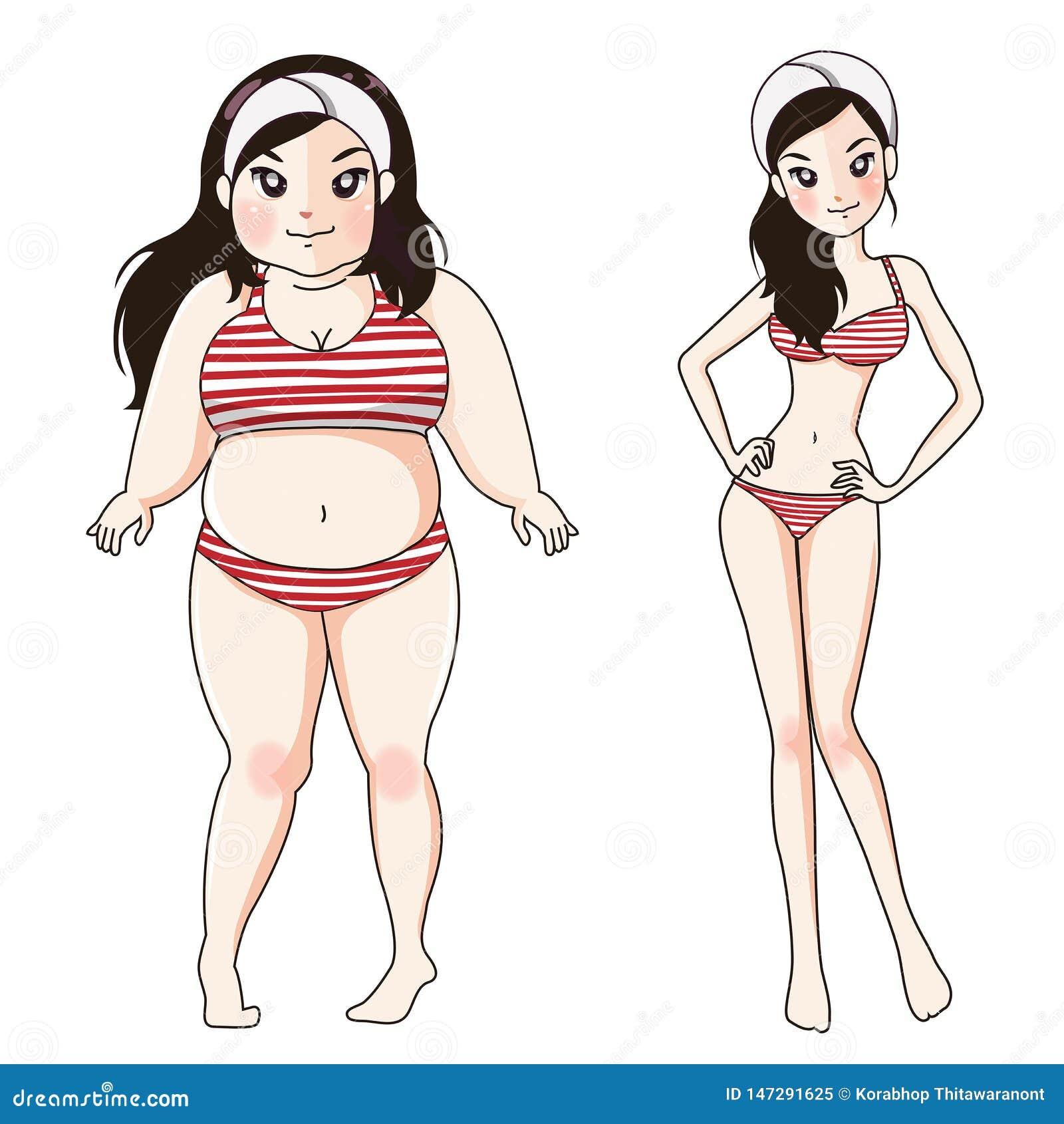 Vorher nach fettem Körpermädchen