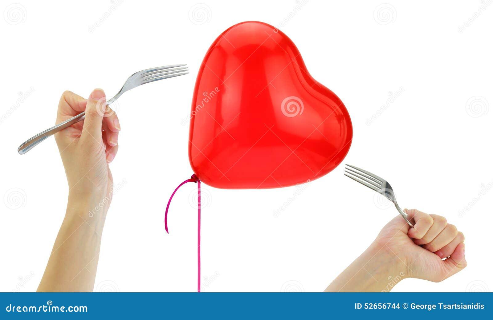 Vorken ongeveer om een hartballon te knallen
