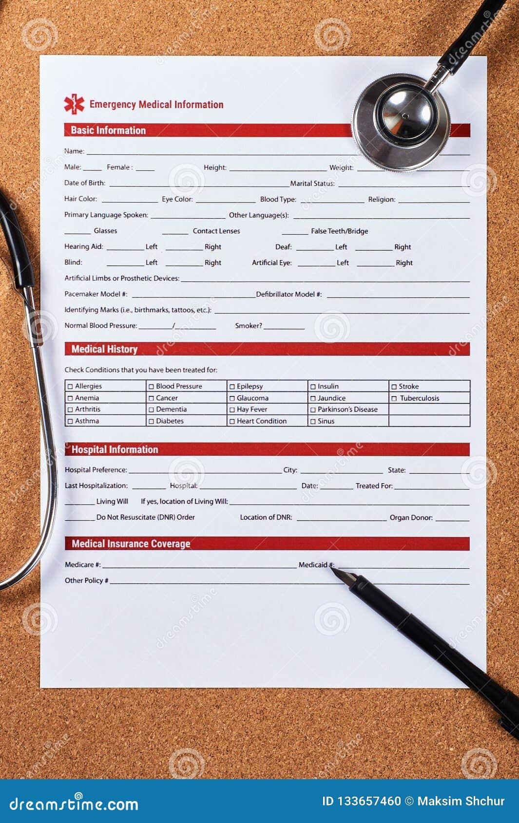 Vorm van de noodsituatie de medische informatie