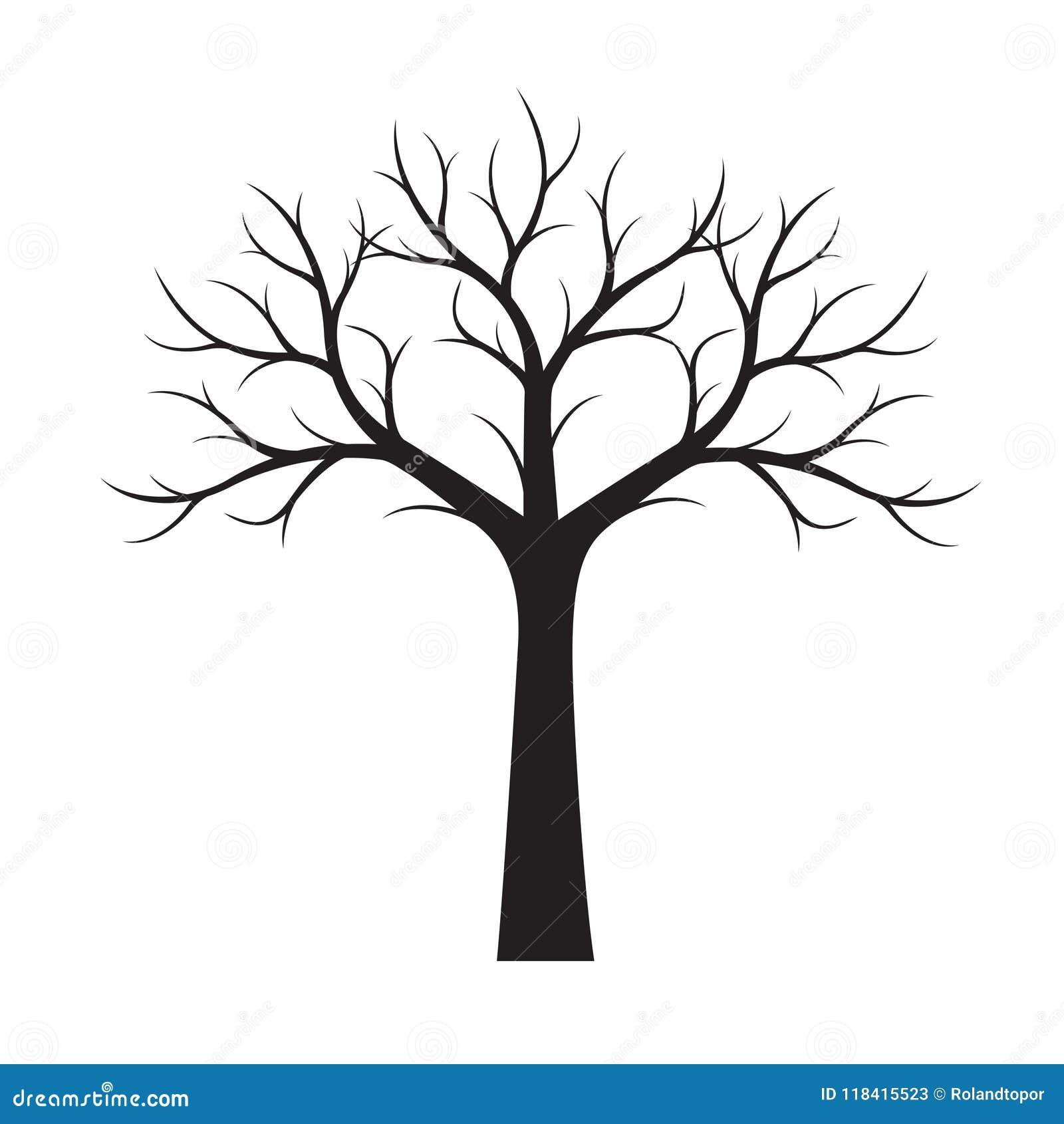 vorm zwarte boom zonder bladeren vector illustratie
