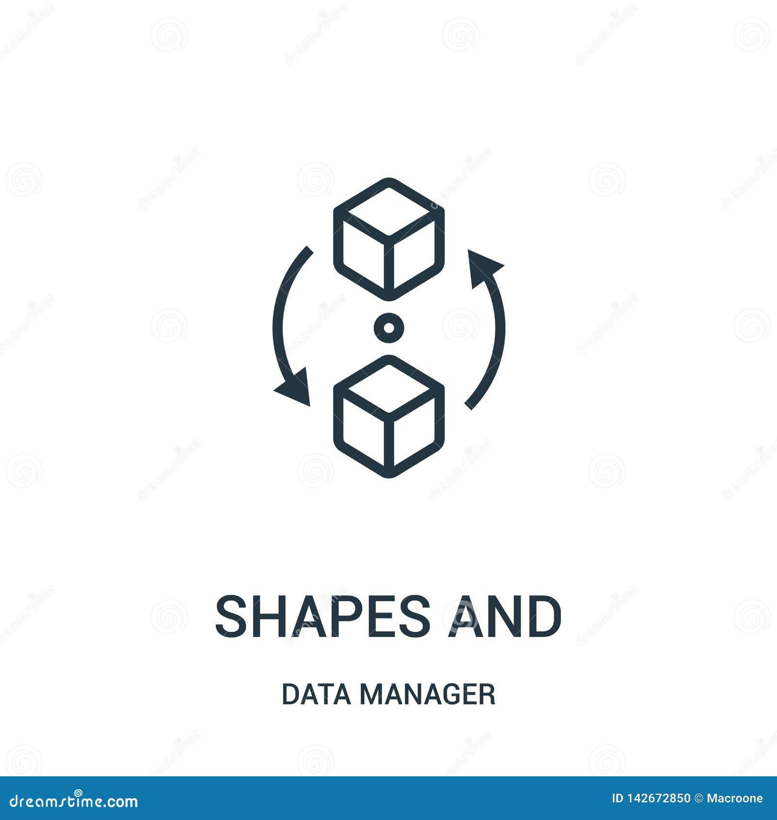 Vormen en symbolenpictogramvector van de inzameling van de gegevensmanager De dunne van lijnvormen en symbolen vectorillustratie