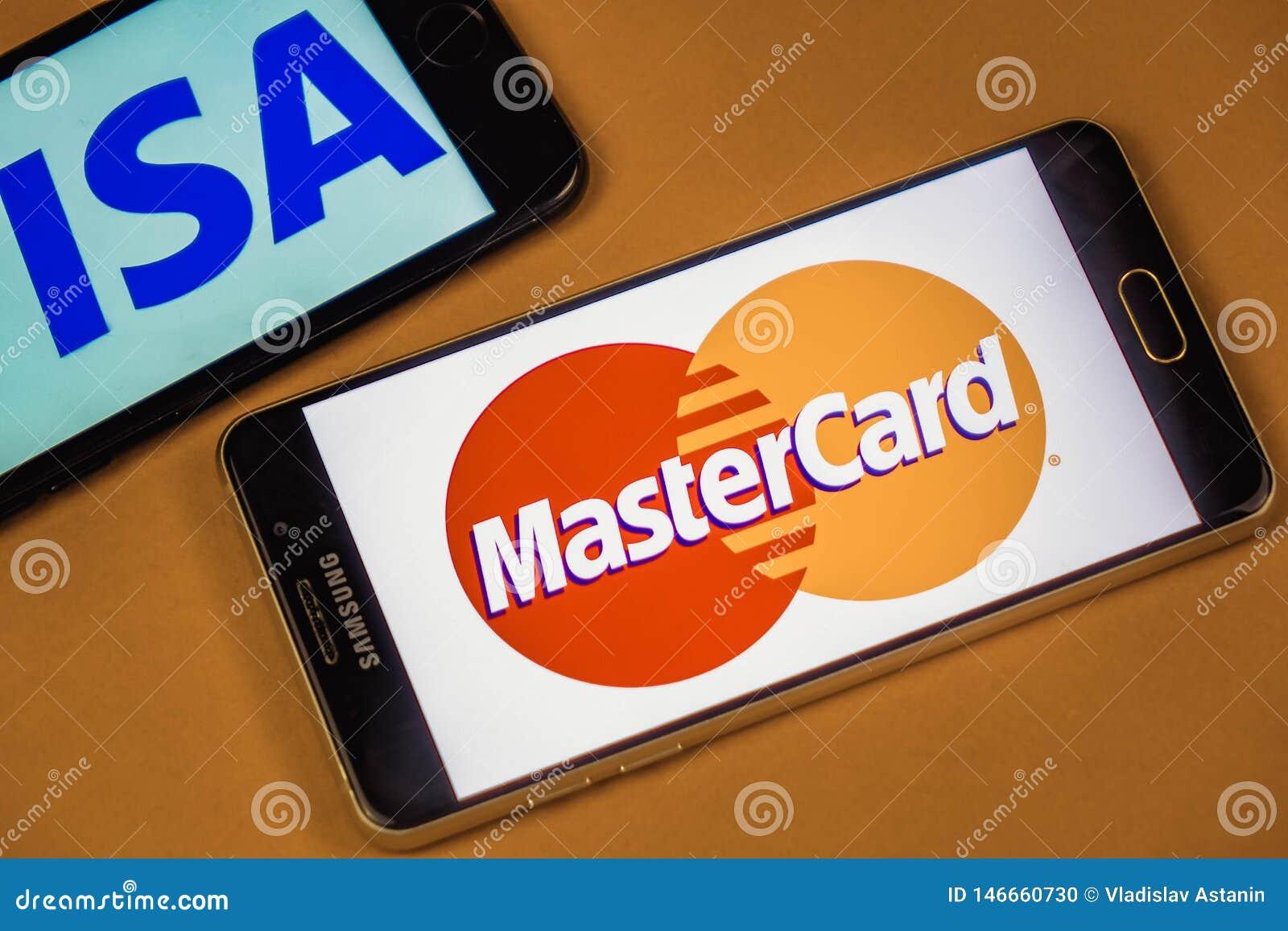 VORONEZH, ROSJA - 3 mogą, 2019: Wiza logo i Mastercard logo na dwa różnych telefonach