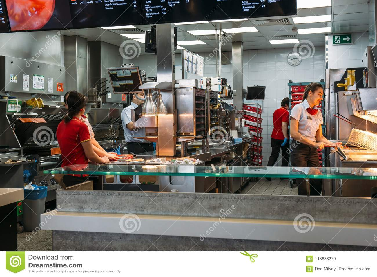 Voronezh Russia Circa March 2018 Mcdonalds Kitchen Area With Workers Famous Fast Food Cafe Editorial Stock Image Image Of City Cook 113688279