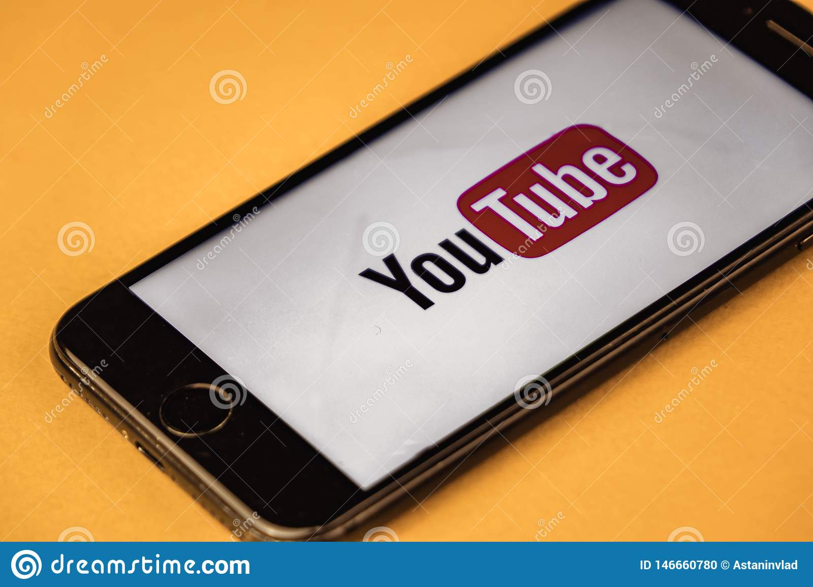 VORONEZH. Russia - May 03, 2019: Brand New Apple IPhone 7 With Logo YouTube,  On An Orange Background. YouTube Is The Popular Editorial Image - Image of  brand, editorial: 146660780