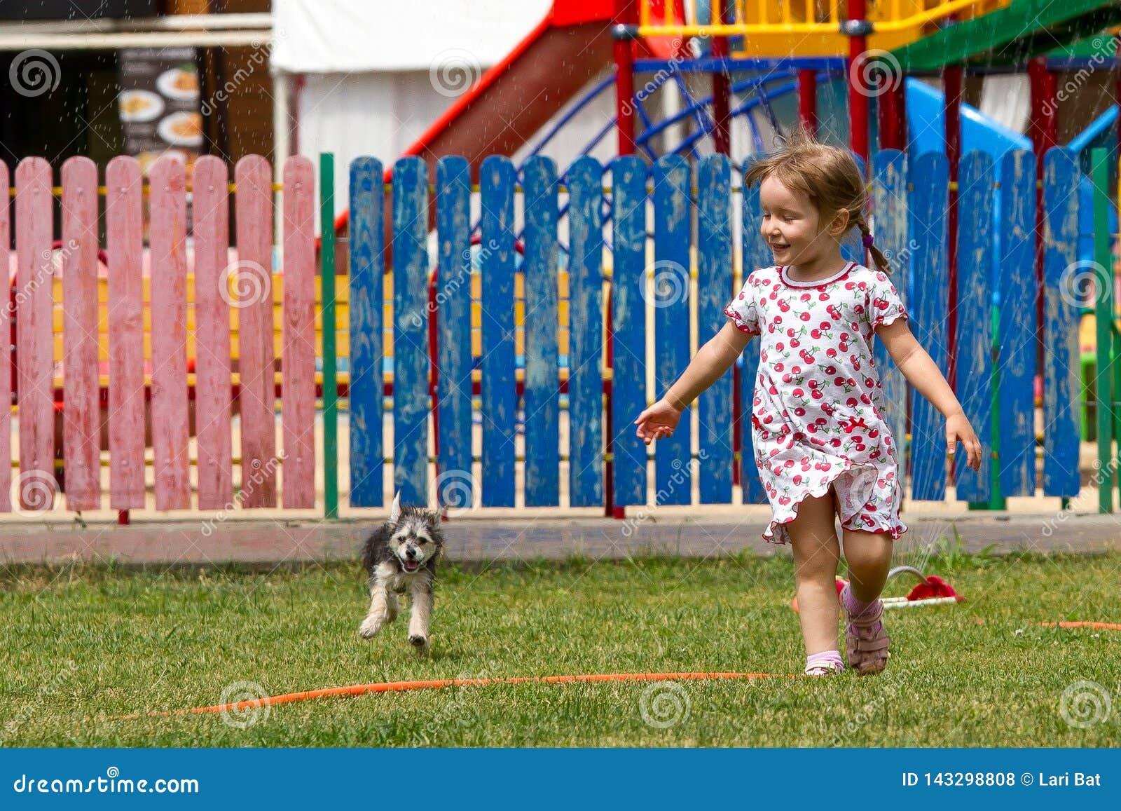 Voronezh, Russland: Am 17. Juni 2013 Ein Mädchen mit einem Hund, der unter das Wasser in einem Park an einem heißen sonnigen Tag