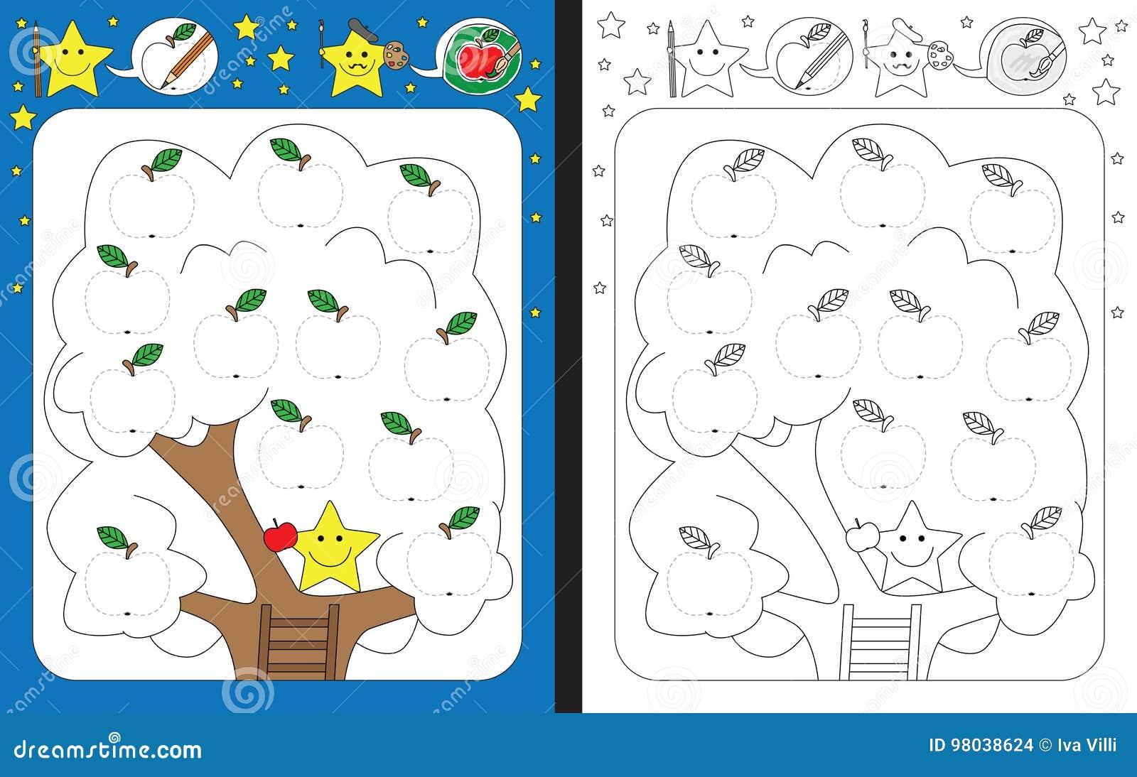 Vorschularbeitsblatt vektor abbildung. Illustration von kindergarten ...