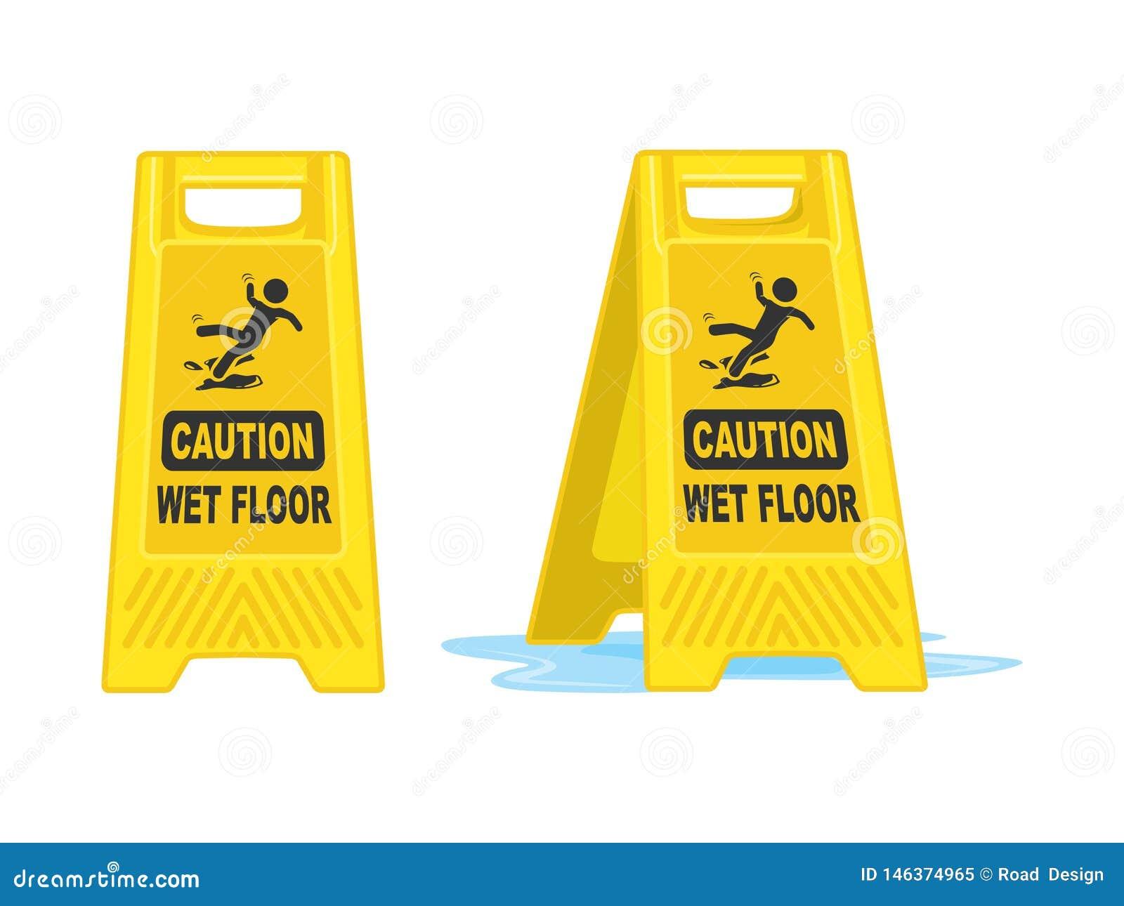 Vorsicht-nass Boden-Zeichen-Brett-Vektor-Illustration