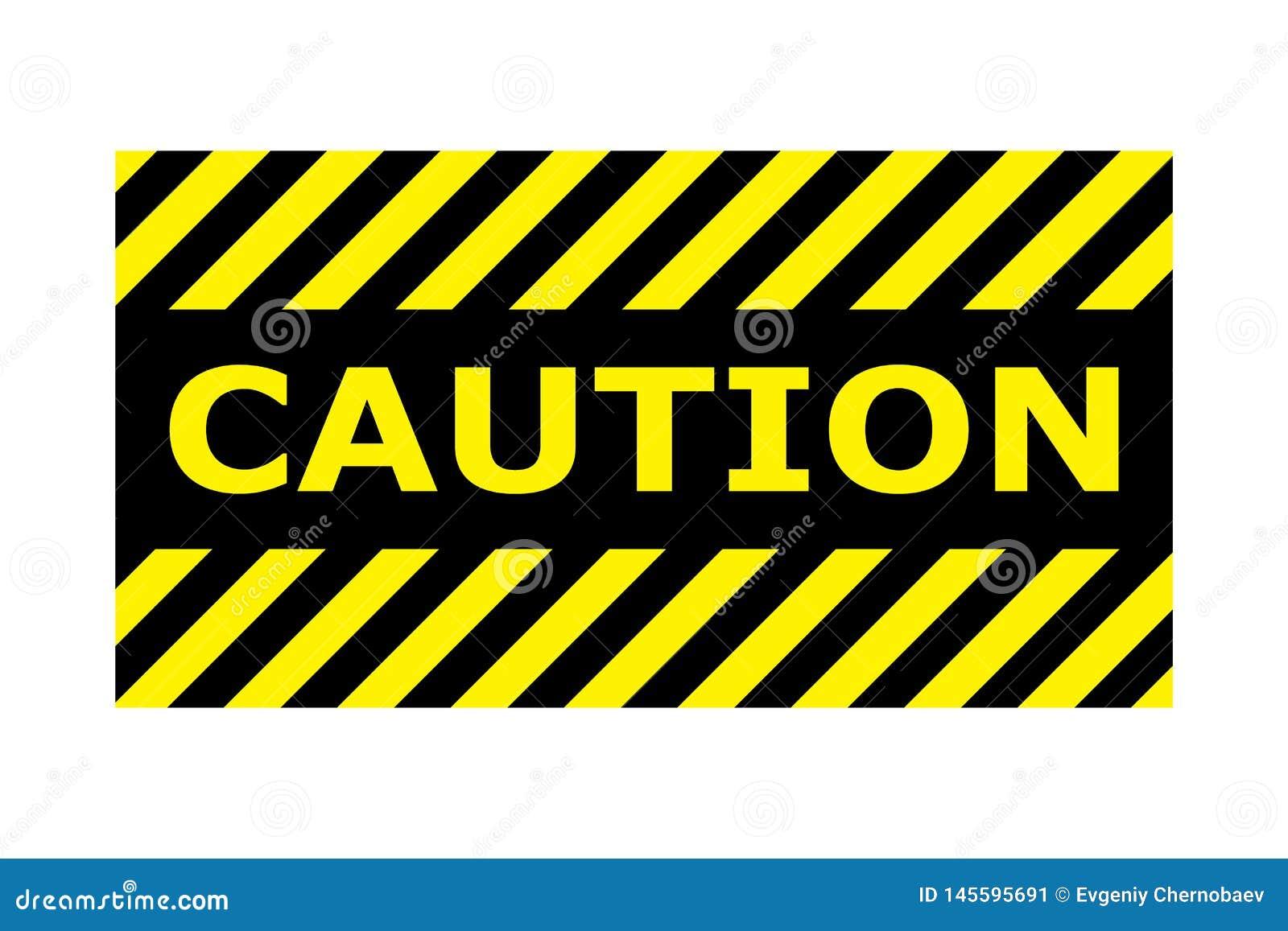 Vorsichtfahnen-Zeichenvektor eps10 Grenze mit Linie Gelb und schwarze Farbe Rasterversion der Abbildung Grenz- und Textentwurf wi