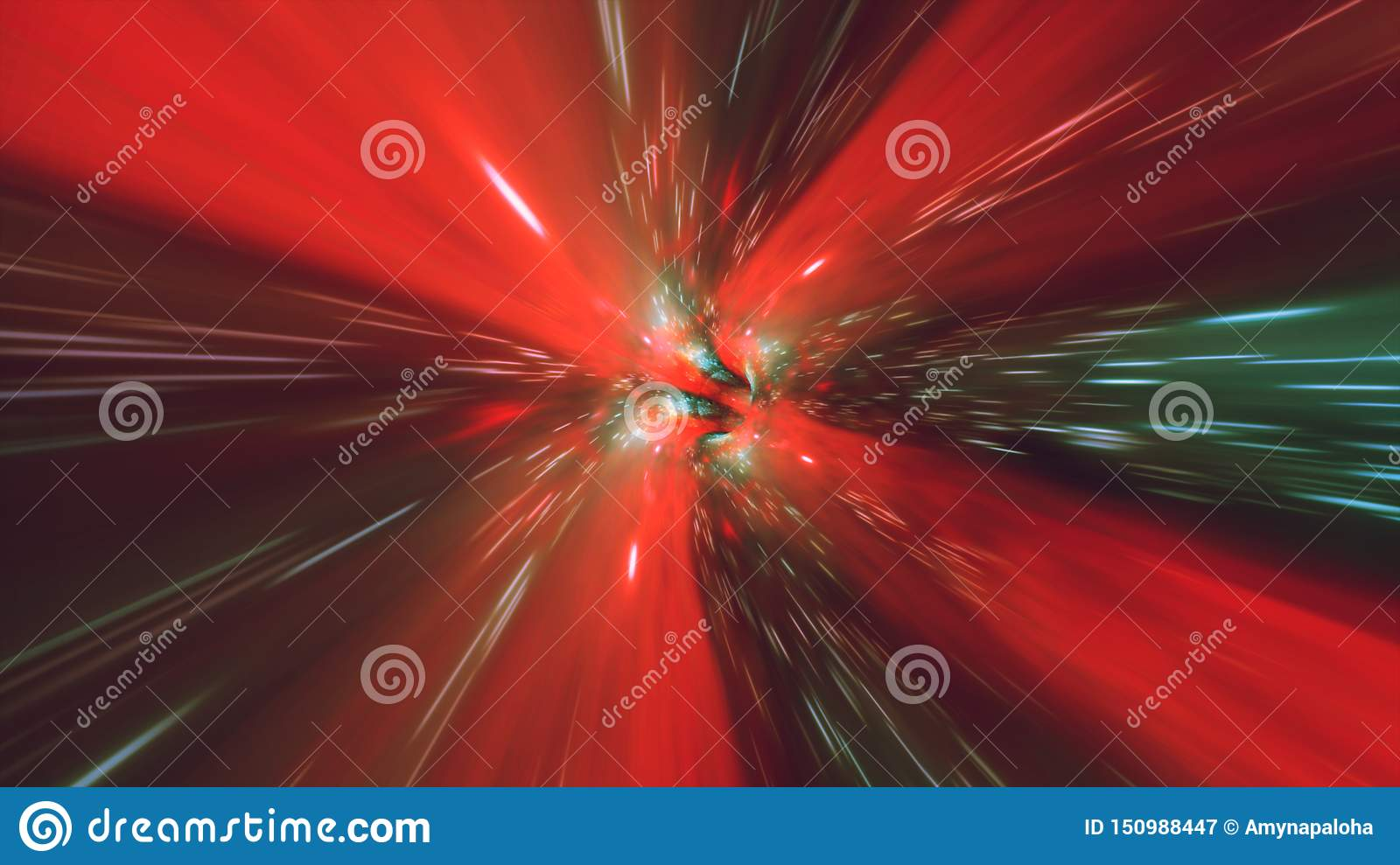 Vortex hyperspace tunnel wormhole time and space, warp science fiction Background 3D Animation