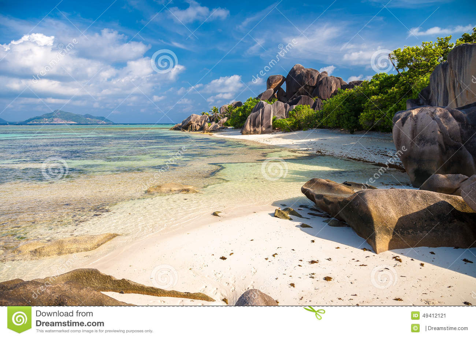 Download Vorzügliche Anse-Quelle D'Argent Stockbild - Bild von kokosnuß, strand: 49412121