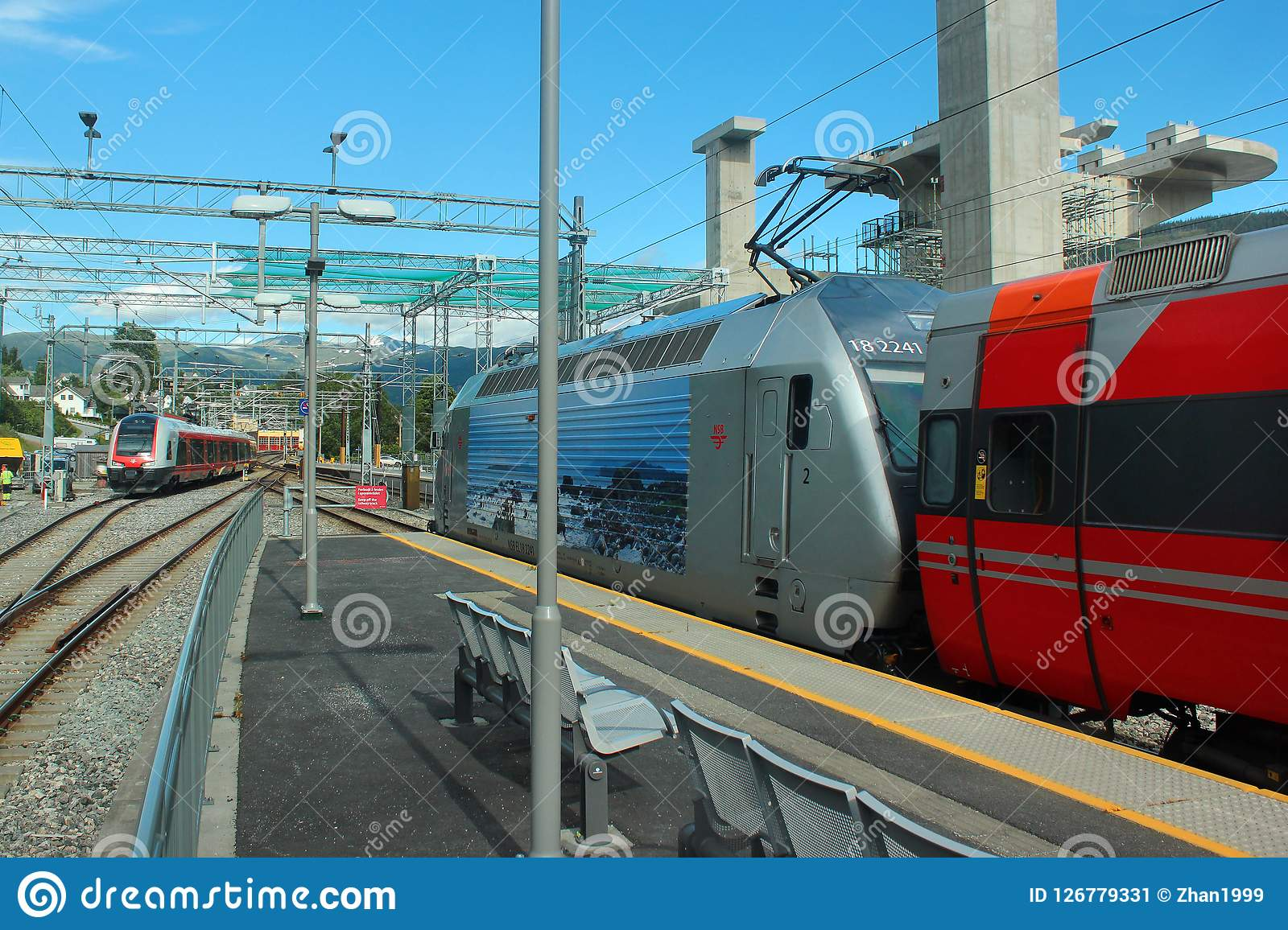 nsb trains at voss railway station norway editorial photo image