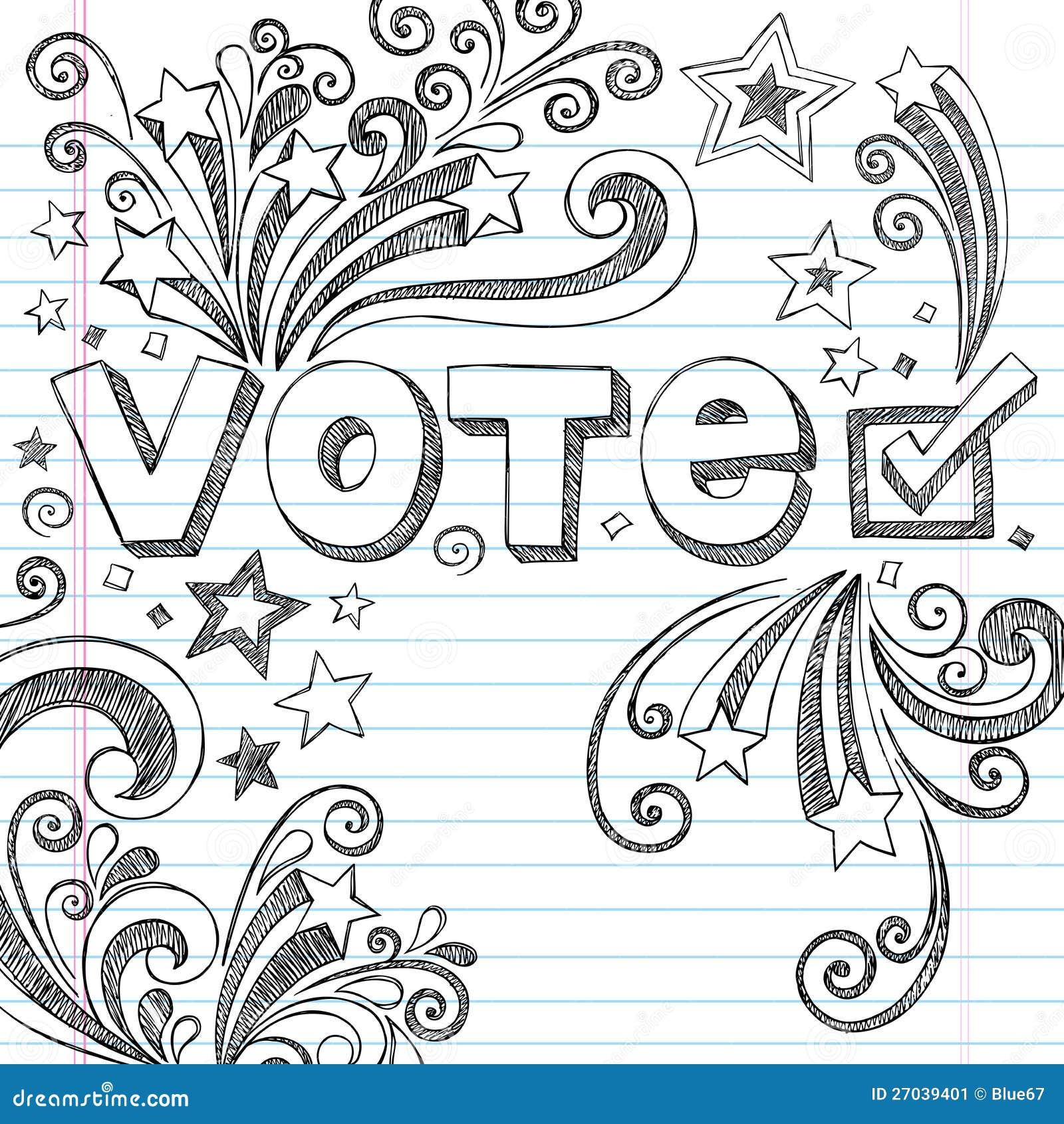Vote Election Sketchy School Doodles Vector Illust