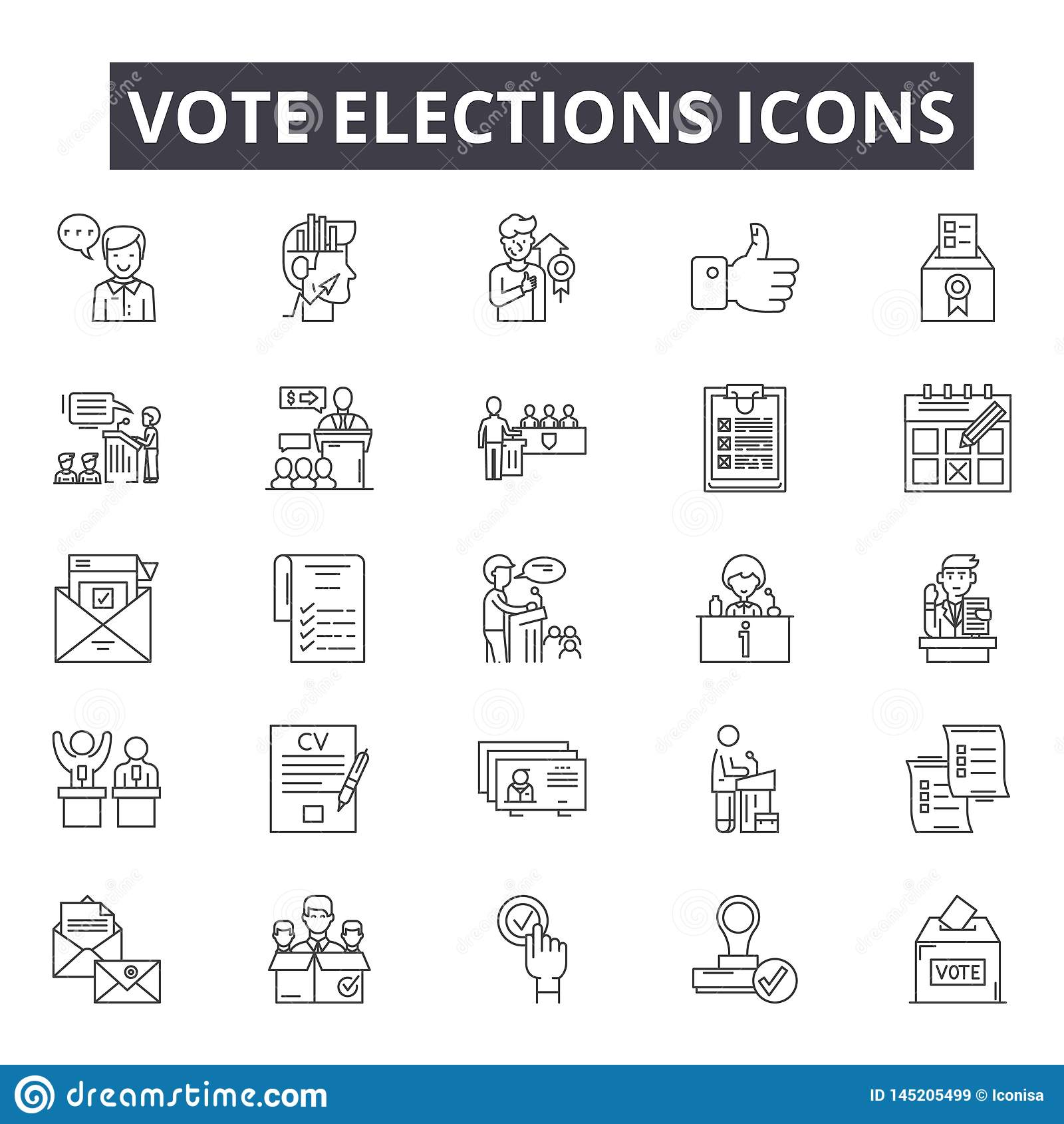 Vote elections line icons, signs, vector set, outline illustration concept